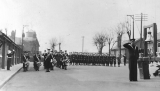 1930 - GUARD AND BAND ON THE QUARTER DECK.