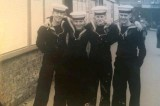 1962, 15TH JULY - ALAN MILLAR, EXMOUTH, 261 CLASS, FOUR OF US AT KINGS CROSS, GOING ON LEAVE FROM GANGES.jpg