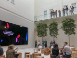 Entertainment at the new Apple store