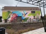 Red Swan mural at Alethia Tanner Park