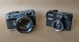Two rangefinder cameras; the amazing Canon 7 (left) and the popular Canonet QL17.