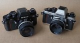 The two Nikon F3; the original F3 (gift from my friend Caio Cunha) and the Nikon F3t (right).