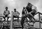 People on the Manaus harbor.