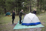 The German contingent pitching tents