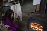 Johanna enjoying the fire