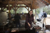 Maria cooking the bacon