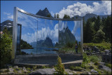 Mirror sculpture in Lyngvær, Lofoten Islands....