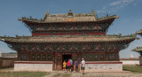 Visitors enter a temple within the Erdene Zuu Monastery complex, Kharkhorin, Mongolia
