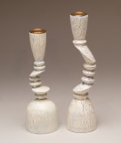 Multiaxis turned candle sticks, paint and crackle finish.