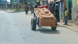 Man carrying bricks with a Pedicab in Tana