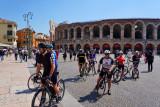 Cyclists and the Verona Arena
