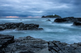Godrevy Lighthouse in Cornwall at dusk