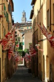 Siena A Contrada displaying proudly its flags