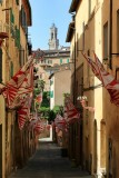 Siena. A contrada showing proudly its flags