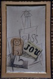 Glass, Bottle of Bass, Newspaper (1914) - Pablo Picasso - 4516