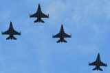 Air Force F-16 Fighting Falcons flying tribute