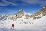 Theodulpass (3295 m), view on Matterhorn mount (Monte Cervino) 4478m