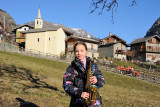 Aosta Valley region, playing sax in the village of Cerian