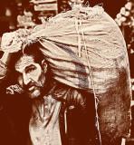 Man with a burlap sack