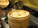 Bamboo steamer with Bao Buns