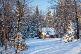 A family cabin after another snow storm