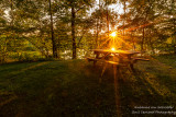 Sunset over Picnic table