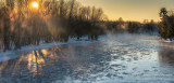 A frigid sunrise, Chippewa river, panorama