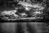 Sun and clouds, in black & white