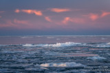 Pink and blue sky with floating Lake Superior ice