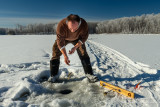 Ice fishing, in the Blue Hills