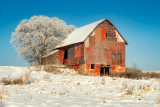 Red barn with rime frost, Wisconsin