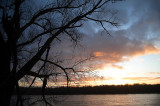 Winter Sunset At Wisla River