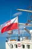 Polish Civil Ensign On Tall Ship