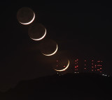 Crescent Moonset Behind South Mountain Towers -- May 25, 2020