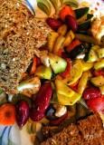 Veg-Bean Salad & Humus Toast