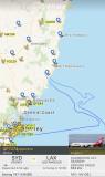 Flightradar24 Screener QF7474 Flight Path Over Pacific Ocean