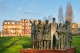 Monument des droits de la personne à côté de l'immeuble du Conseil de l'Europe à Strasbourg