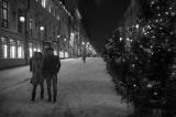 A romantic walk on a cold night