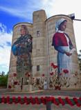 Devenish, painted grain silos