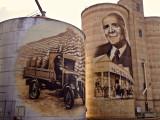 Painted grain silos, St James, Victoria