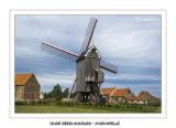 Focus on postmill the Oude zeedijkmolen in Avekapelle