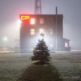 Rail Yard Office Building On A Foggy Night P1390790-4