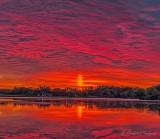 Red Sky & Solar Pillar In The Morning P1450082-8