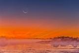 Crescent Moon Over Rideau Canal Sunrise Fog P1460187