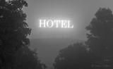 'HOTEL' Sign On A Foggy Night P1470323-9