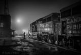 CP Crew Change On A Foggy Night P1500427-33 BW