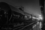 Tanker Train On A Foggy Night P1500462-8 BW