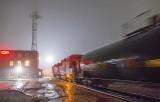 Tanker Train Departing In Night Fog P1500476-82
