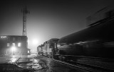 Tanker Train Departing In Night Fog P1500476-82 BW