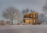 Beautiful House On A Snowy Night P1500568-72